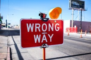 """Street Sign with text """"Wrong Way"""""""
